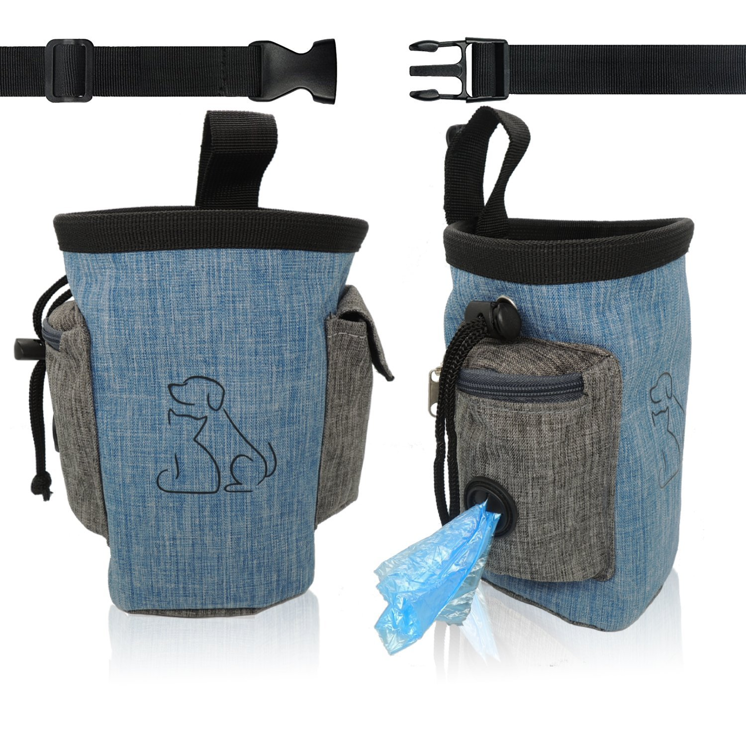 Dog Training Pouch Bag Side Pocket with Poop Bag Dispenser Waist Belt