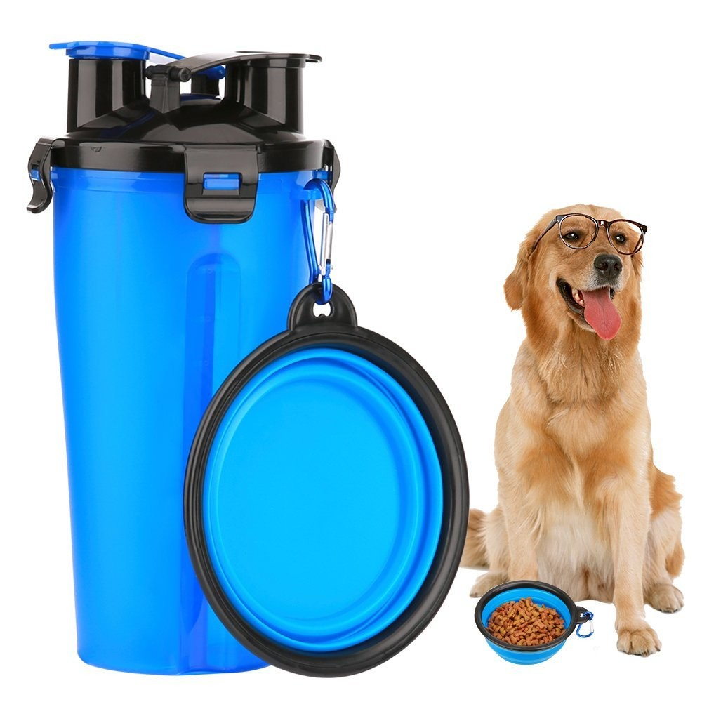 2 in 1 Dog Drinking Water Bottle with Bowl Portable Pet Travel Outdoor Water Cup Food Container 250g Snack and 350ml