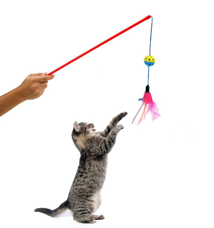 cat Colorful Feathers and bell Wand Teaser Toy