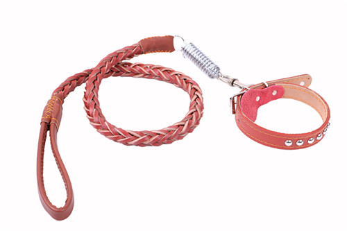 Pet Lead Genuine Pet Leather Leash and Collar Strong Braided Leather Dog Leashes with Collars