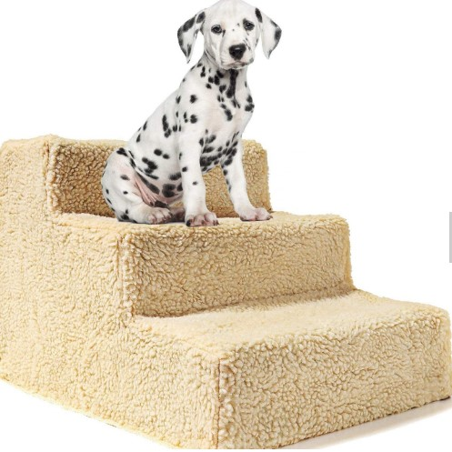 Supports up to 20 lbs, 3 Steps Ladder for Small Dogs and Cats, Portable Pet Bed Stairs